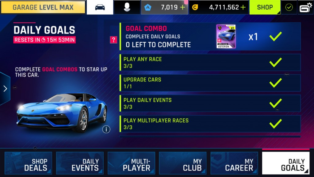 Asphalt 9 daily goals