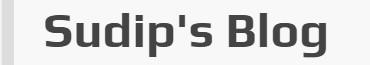 Sudip's Blog